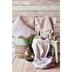 Покрывало с наволочками Karaca Home – Charm bold pudra пудровый 250*240 евро