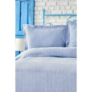 Покрывало с наволочками Karaca Home – Stella a.mavi светло-голубой 230*240 евро