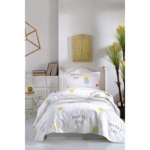 Покрывало стеганое с наволочками Enlora Home – Ilanda Beyaz белый 180*225